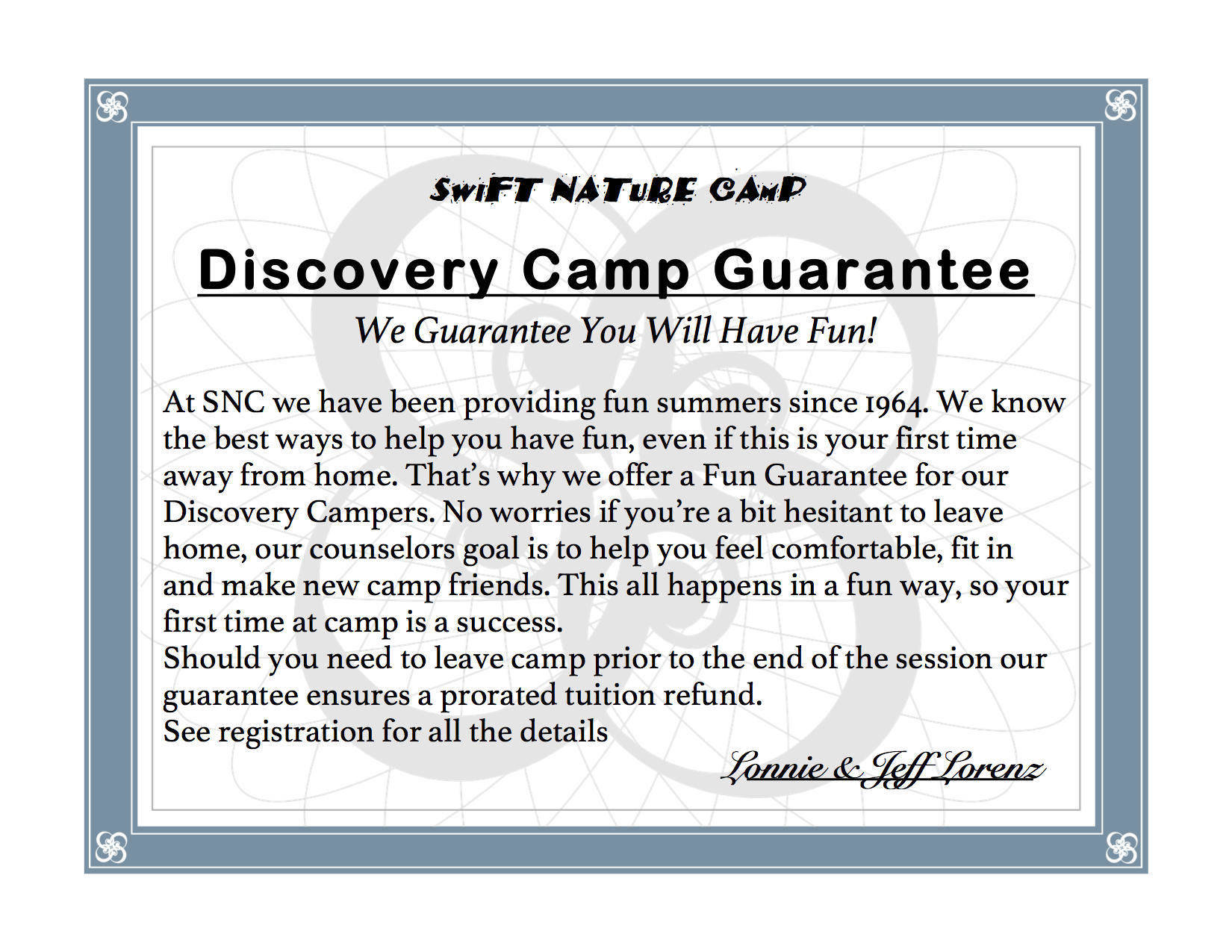 Summer Camp Gurantee