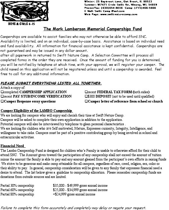 Financial Assistance- Summer Camp Campership